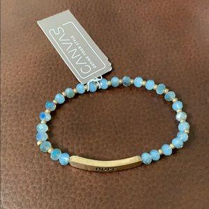 Hope blue bead stretch bracelet